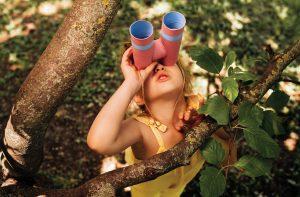 Little girl playing outdoor activities