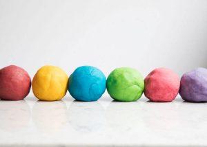 Creating homemade Playdough for kids