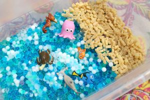 Sensory Bin great for discovery, scooping, pouring, and exploring